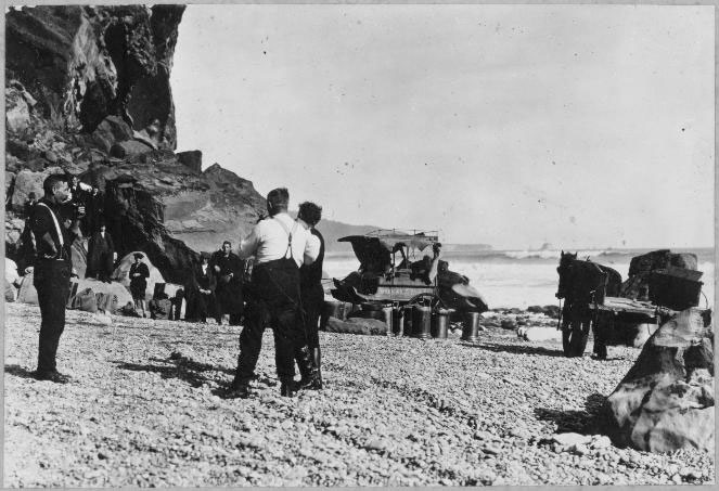 12 mile beach by horse and cart, late 1800\'s. On the way to Barrytown, near Punakaiki