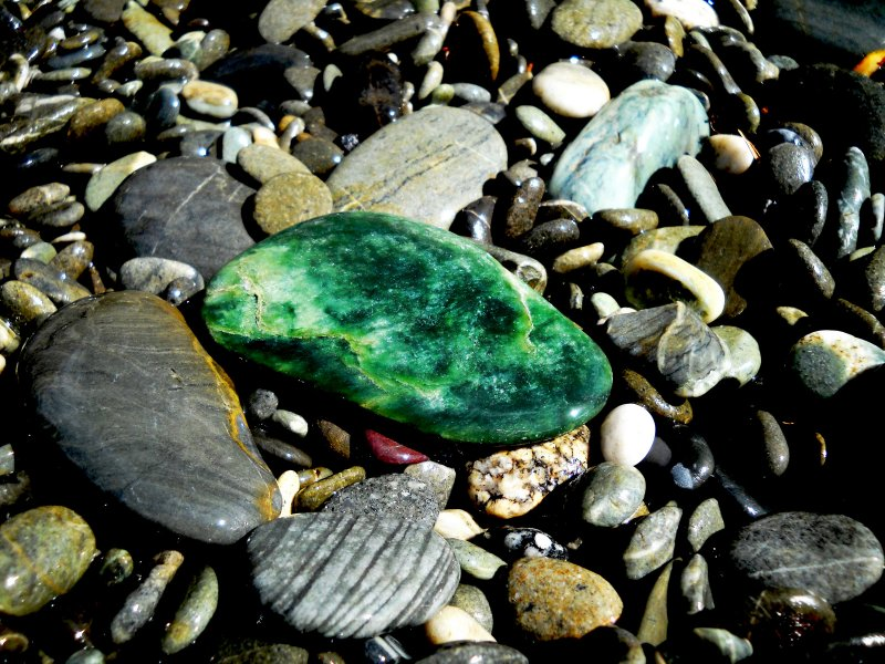 You might find some Jade, (pounamu). Barrytown, near Punakaiki